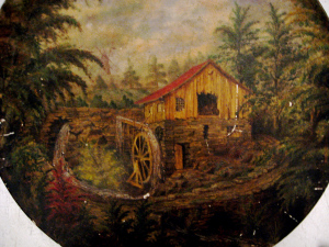 "Painting of early Glen mill found in the attic of the ""Durfee Tea House."""